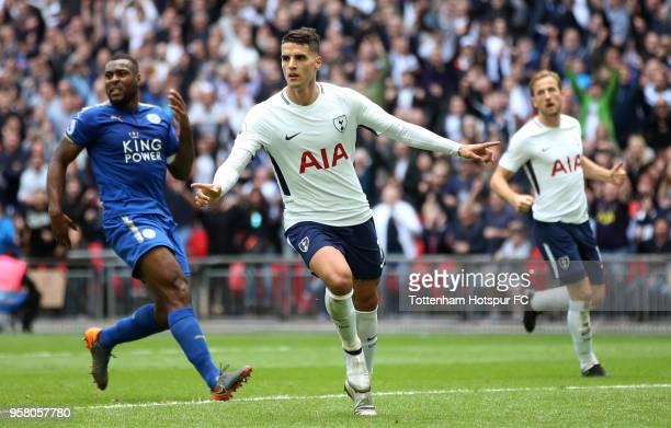 Erik Lamela of Tottenham Hotspur celebrates after scoring his sides fourth goal during the Premier League match between Tottenham Hotspur and...
