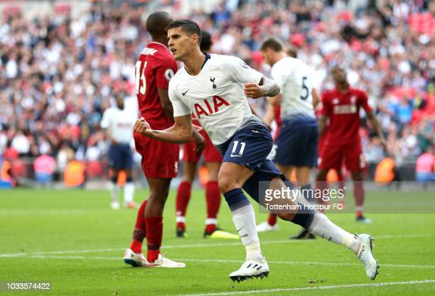 Erik Lamela of Tottenham Hotspur celebrates after scoring his team's first goal during the Premier League match between Tottenham Hotspur and...