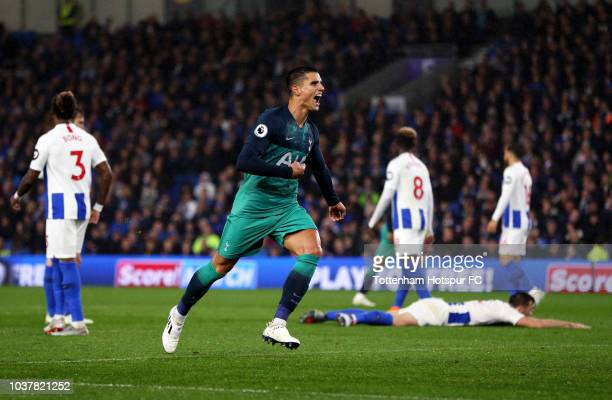 Erik Lamela of Tottenham Hotspur celebrates after scoring his team's second goal during the Premier League match between Brighton Hove Albion and...