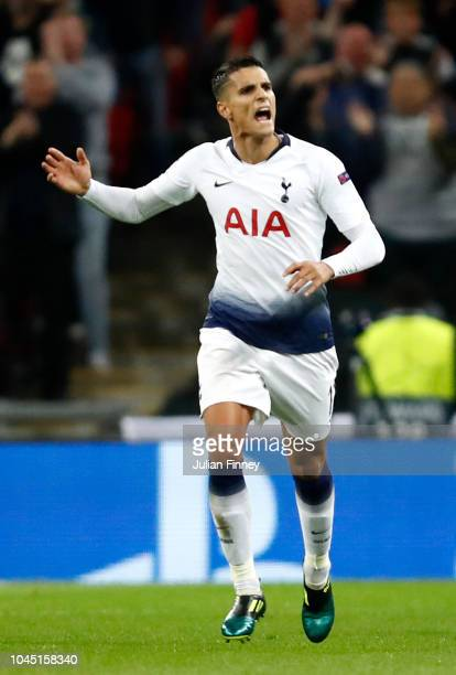 Erik Lamela of Tottenham Hotspur celebrates after scoring his team's second goal during the Group B match of the UEFA Champions League between...