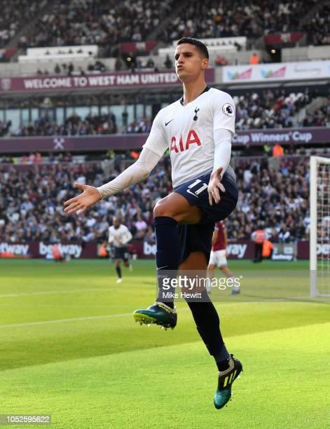 Erik Lamela of Tottenham Hotspur celebrates after scoring his team's first goal during the Premier League match between West Ham United and Tottenham...