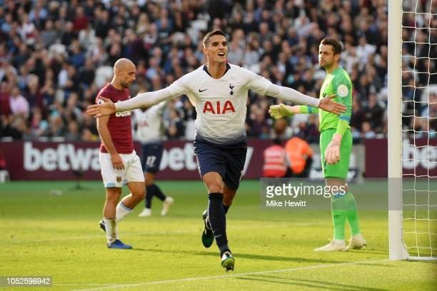 Erik Lamela of Tottenham Hotspur celebrates after scoring his team's first goal during the Premier League match between West Ham United and Tottenham...