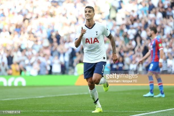 Erik Lamela of Tottenham Hotspur celebrates after scoring his team's fourth goal during the Premier League match between Tottenham Hotspur and...