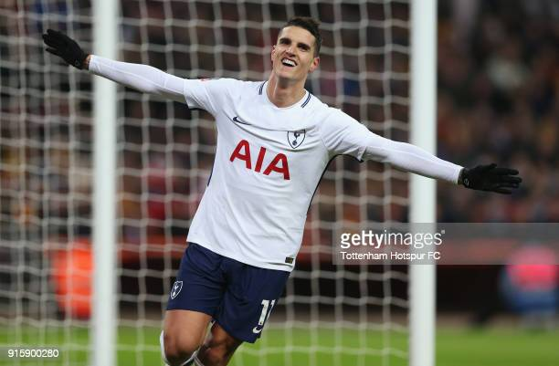 Erik Lamela of Tottenham Hotspur celebrates after scoring their second goal during the Emirtaes FA Cup Fourth Round replay match between Tottenham...