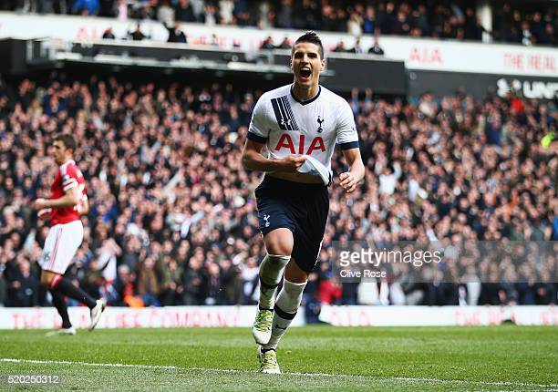 Erik Lamela of Tottenham Hotspur celebrates as he scores their third goal during the Barclays Premier League match between Tottenham Hotspur and...
