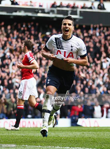 Erik Lamela of Tottenham Hotspur celebrates as he scores their third goal during the Barclays Premier League match between Tottenham Hotspur and...