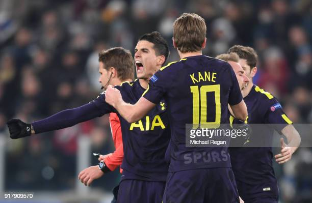 Erik Lamela of Tottenham Hotspur celebrates his sides second goal during the UEFA Champions League Round of 16 First Leg match between Juventus and...
