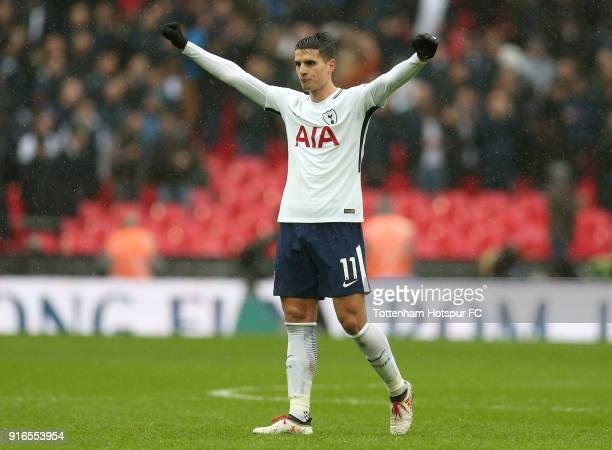 Erik Lamela of Tottenham Hotspur celebrates his side's win following the Premier League match between Tottenham Hotspur and Arsenal at Wembley...
