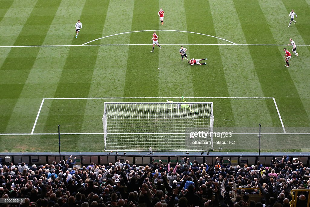 Erik Lamela of Tottenham Hotspur celebrates scores during the Barclays Premier League match between Tottenham Hotspur and Manchester United at White Hart Lane on April 10, 2016 in London, England.