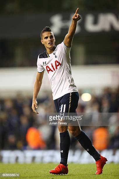 Erik Lamela of Tottenham Hotspur celebrates scoring his sides fifth goal during the EFL Cup Third Round match between Tottenham Hotspur and...