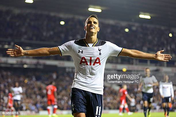 Erik Lamela of Tottenham Hotspur celebrates scoring his sides fifth goal during the EFL Cup Third Round match between Tottenham Hotspur and...