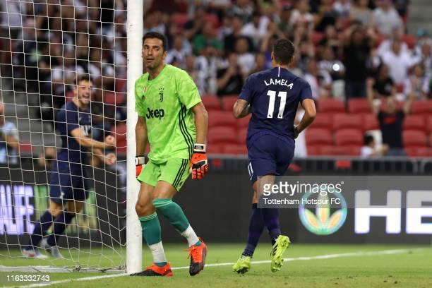 Erik Lamela of Tottenham Hotspur celebrates scoring his side's first goal during the International Champions Cup match between Juventus and Tottenham...