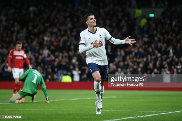 Erik Lamela of Tottenham Hotspur celebrates scoring his sides second goal during the FA Cup Third Round Replay match between Tottenham Hotspur and...