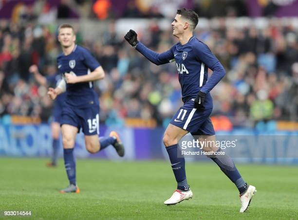 Erik Lamela of Tottenham Hotspur celebrates scoring his side's second goal during The Emirates FA Cup Quarter Final match between Swansea City and...