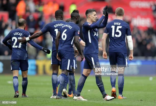 Erik Lamela of Tottenham Hotspur celebrates scoring his side's second goal with team mates during The Emirates FA Cup Quarter Final match between...