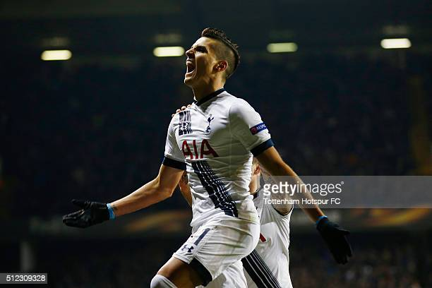 Erik Lamela of Tottenham Hotspur celebrates scoring his team's second goal during the UEFA Europa League round of 32 second leg match between...