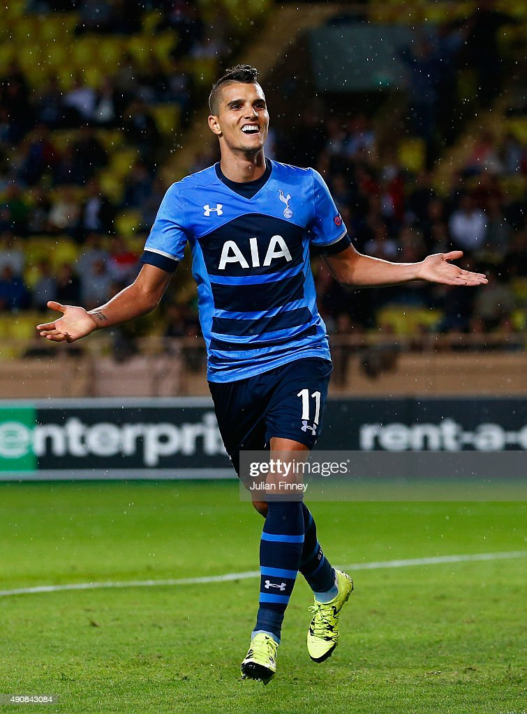 Erik Lamela of Tottenham Hotspur celebrates scoring the opening goal during the UEFA Europa League group J match between AS Monaco FC and Tottenham Hotspur FC at Stade Louis II on October 1, 2015 in Monaco, Monaco.