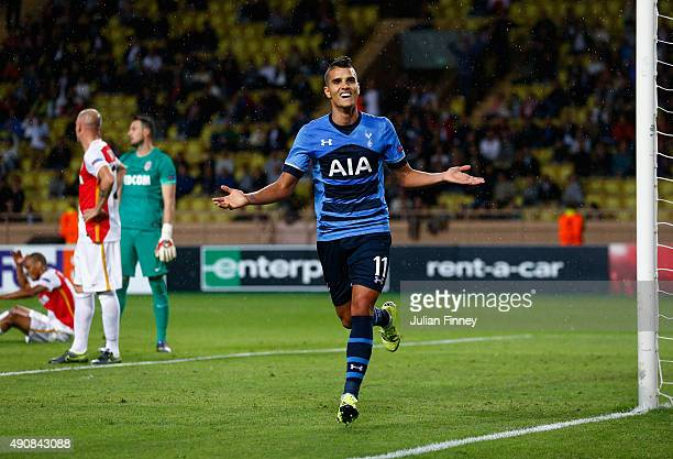 Erik Lamela of Tottenham Hotspur celebrates scoring the opening goal during the UEFA Europa League group J match between AS Monaco FC and Tottenham...