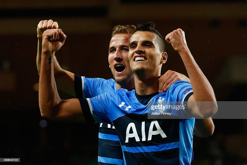 Erik Lamela of Tottenham Hotspur celebrates scoring the opening goal with Harry Kane of Tottenham Hotspur during the UEFA Europa League group J match between AS Monaco FC and Tottenham Hotspur FC at Stade Louis II on October 1, 2015 in Monaco, Monaco.