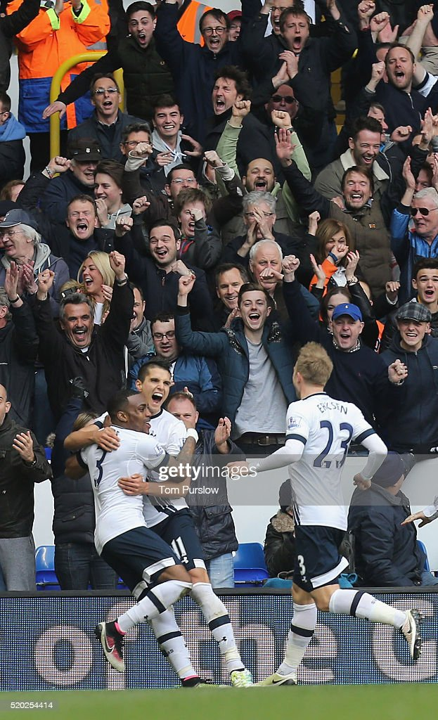 Erik Lamela of Tottenham Hotspur celebrates scoring their third goal during the Barclays Premier League match between Tottenham Hotspur and Manchester United at White Hart Lane on April 10 2016 in London, England