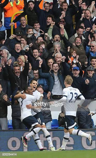 Erik Lamela of Tottenham Hotspur celebrates scoring their third goal during the Barclays Premier League match between Tottenham Hotspur and...