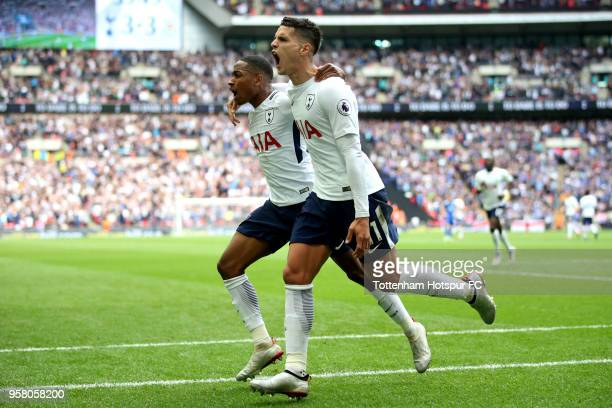 Erik Lamela of Tottenham Hotspur celebrates with Kyle WalkerPeters of Tottenham Hotspur after scoring his sides fourth goal during the Premier League...