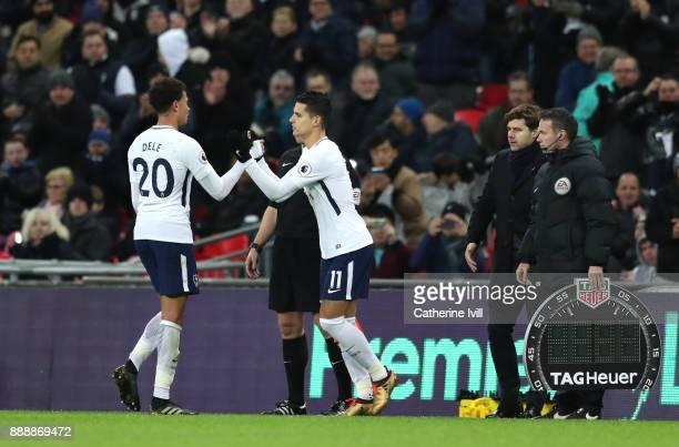 Erik Lamela of Tottenham Hotspur comes on for Dele Alli of Tottenham Hotspur during the Premier League match between Tottenham Hotspur and Stoke City...