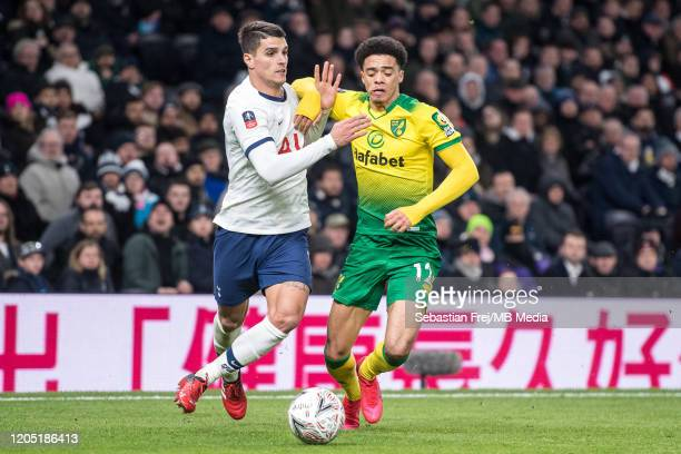 Erik Lamela of Tottenham Hotspur competes for ball with Jamal Lewis of Norwich City during the FA Cup Fifth Round match between Tottenham Hotspur and...
