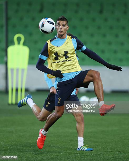 Erik Lamela of Tottenham Hotspur controls the ball during a Tottenham Hotspur training session at AAMI Park on July 28 2016 in Melbourne Australia
