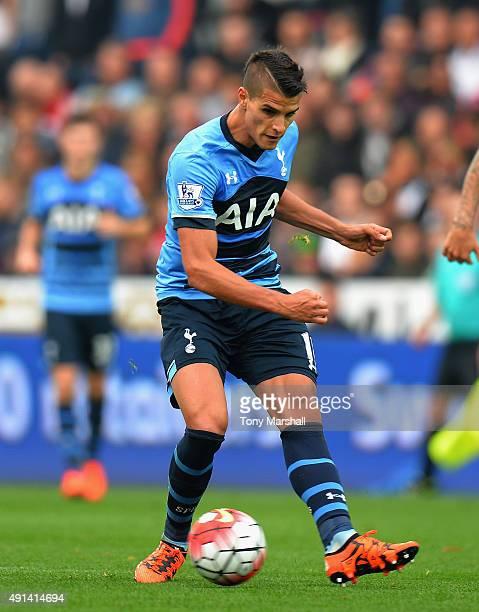 Erik Lamela of Tottenham Hotspur during the Barclays Premier League match between Swansea City and Tottenham Hotpsur at the Liberty Stadium on...