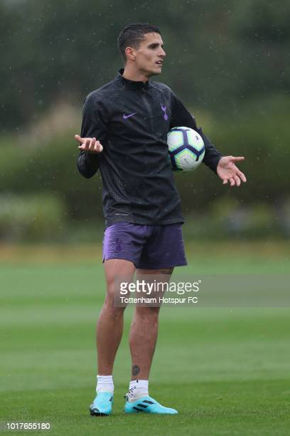 Erik Lamela of Tottenham Hotspur during the Tottenham Hotspur training session at Tottenham Hotspur Training Centre on August 16 2018 in Enfield...