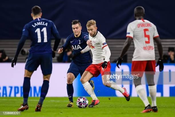 Erik Lamela of Tottenham Hotspur FC Giovani Lo Celso of Tottenham Hotspur FC Konrad Laimer of Red Bull Leipzig Dayot Upamecano of Red Bull Leipzig...