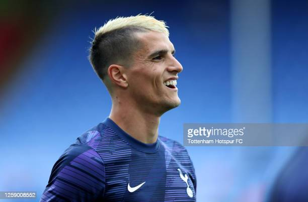 Erik Lamela of Tottenham Hotspur FC warms up prior to the Premier League match between Crystal Palace and Tottenham Hotspur at Selhurst Park on July...