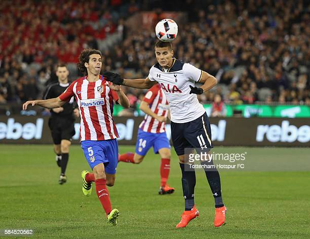 Erik Lamela of Tottenham Hotspur heads the ball during the 2016 International Champions Cup Australia match between Tottenham Hotspur and Atletico de...