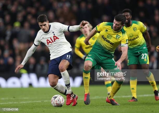 Erik Lamela of Tottenham Hotspur in action during the FA Cup Fifth Round match between Tottenham Hotspur and Norwich City at Tottenham Hotspur...