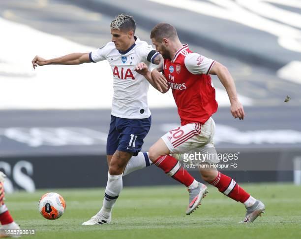 Erik Lamela of Tottenham Hotspur in action during the Premier League match between Tottenham Hotspur and Arsenal FC at Tottenham Hotspur Stadium on...
