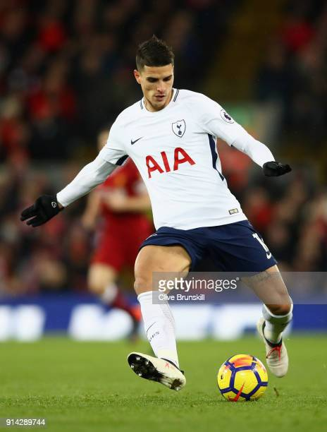 Erik Lamela of Tottenham Hotspur in action during the Premier League match between Liverpool and Tottenham Hotspur at Anfield on February 4 2018 in...