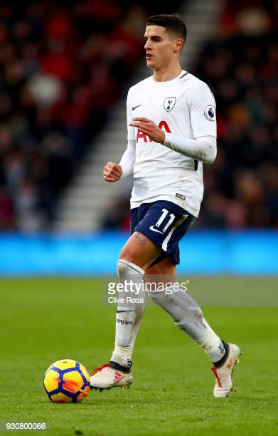 Erik Lamela of Tottenham Hotspur in action during the Premier League match between AFC Bournemouth and Tottenham Hotspur at Vitality Stadium on March...