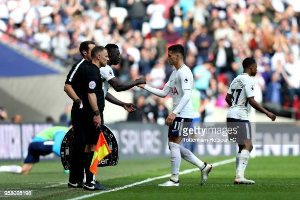 Erik Lamela of Tottenham Hotspur is substituted during the Premier League match between Tottenham Hotspur and Leicester City at Wembley Stadium on...