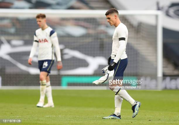 Erik Lamela of Tottenham Hotspur looks dejected after the Premier League match between Tottenham Hotspur and Manchester United at Tottenham Hotspur...