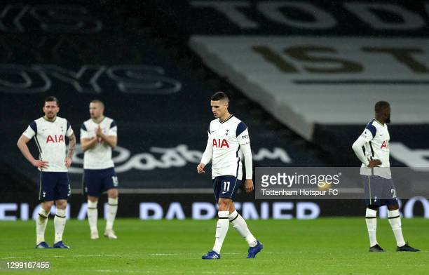 Erik Lamela of Tottenham Hotspur looks on dejected after Liverpool score their second goal of the game during the Premier League match between...