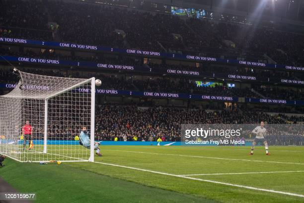 Erik Lamela of Tottenham Hotspur misses from penalty spot during penalty shootout after the FA Cup Fifth Round match between Tottenham Hotspur and...