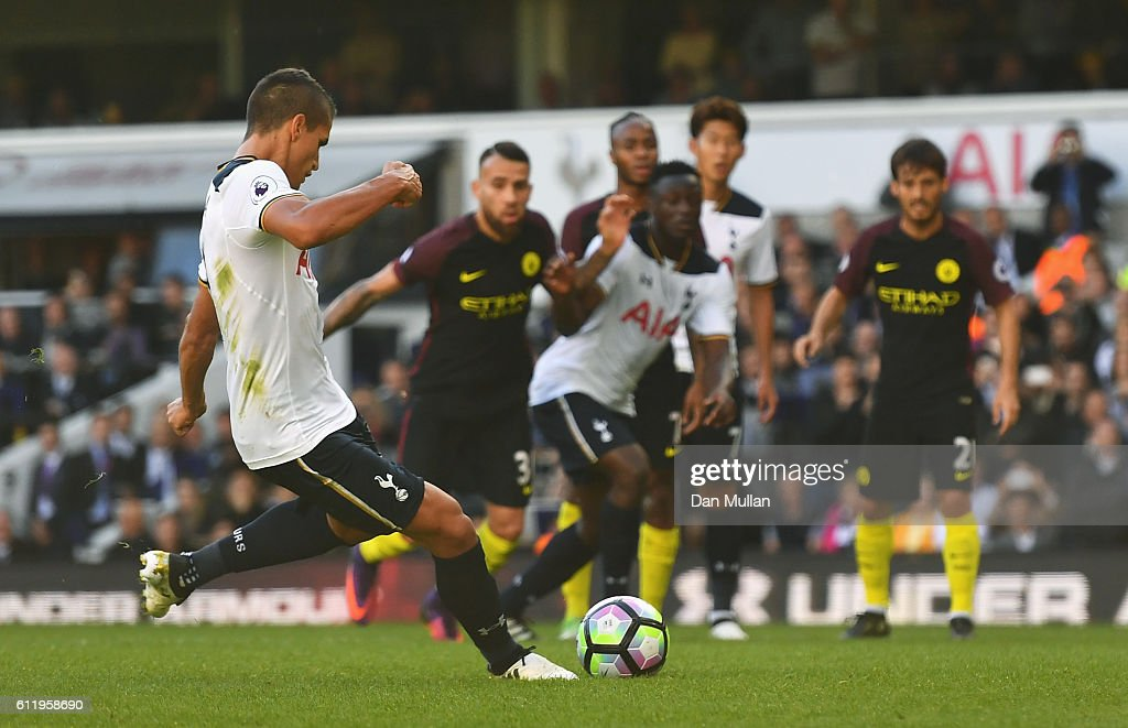 Erik Lamela of Tottenham Hotspur misses from the penalty spot during the Premier League match between Tottenham Hotspur and Manchester City at White Hart Lane on October 2, 2016 in London, England.