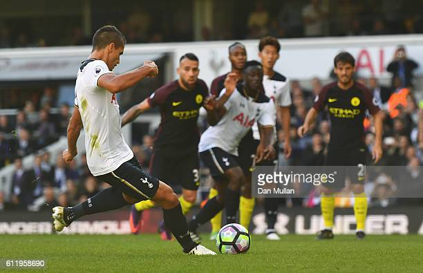 Erik Lamela of Tottenham Hotspur misses from the penalty spot during the Premier League match between Tottenham Hotspur and Manchester City at White...