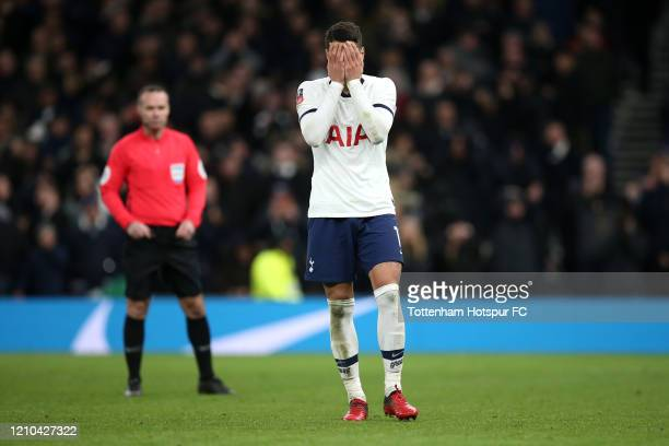Erik Lamela of Tottenham Hotspur reacts after missing a penalty in the penalty shootout during the FA Cup Fifth Round match between Tottenham Hotspur...