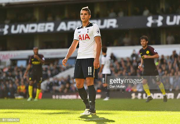 Erik Lamela of Tottenham Hotspur reacts after missing a penalty during the Premier League match between Tottenham Hotspur and Manchester City at...