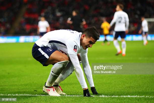 Erik Lamela of Tottenham Hotspur reacts during the Emirates FA Cup Fourth Round Replay between Tottenham Hotspur and Newport County at Wembley...