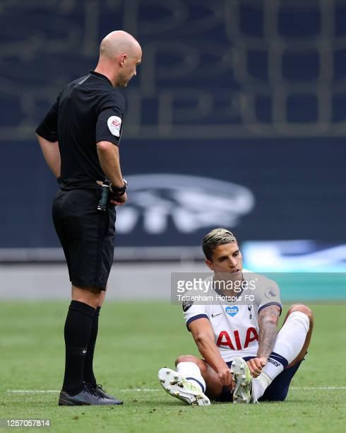 Erik Lamela of Tottenham Hotspur reacts during the Premier League match between Tottenham Hotspur and Leicester City at Tottenham Hotspur Stadium on...