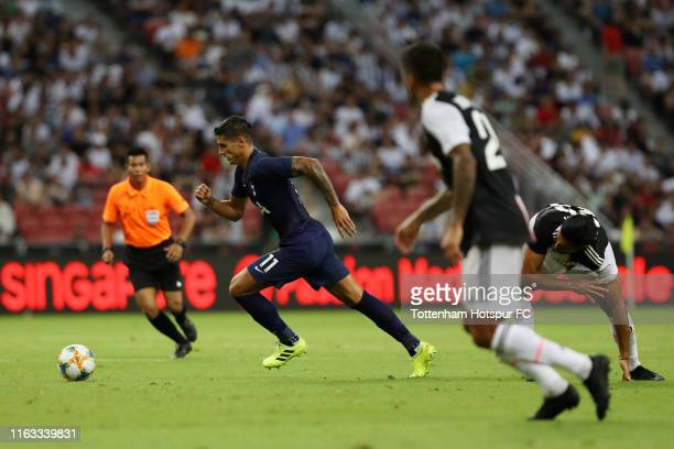 Erik Lamela of Tottenham Hotspur runs with the ball during the International Champions Cup match between Juventus and Tottenham Hotspur at the...
