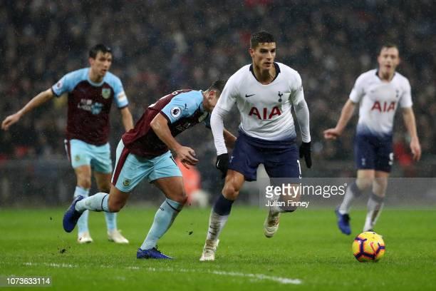 Erik Lamela of Tottenham Hotspur runs with the ball during the Premier League match between Tottenham Hotspur and Burnley FC at Wembley Stadium on...